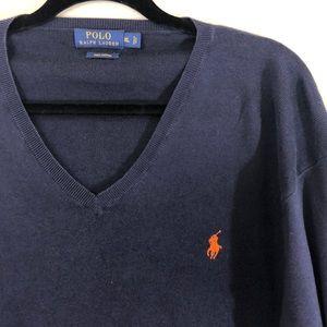 Polo Navy V-neck Pullover Orange Pony Size L